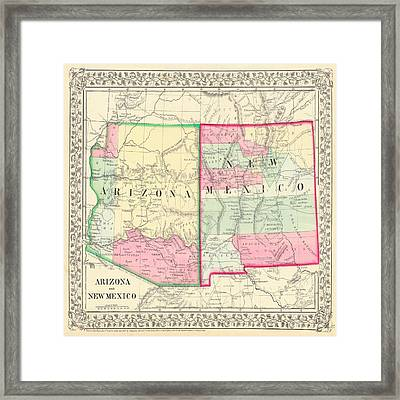 New Mexico And Arizona Map Print From 1867 Framed Print by Marianna Mills