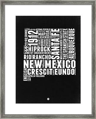 New Mexico Black And White Word Cloud Map Framed Print by Naxart Studio