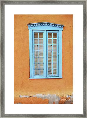 Framed Print featuring the photograph New Mexico Blue Window by Andrea Hazel Ihlefeld