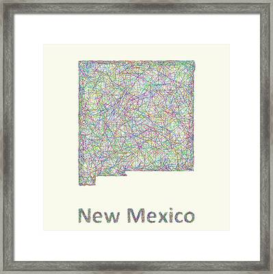 New Mexico Line Art Map Framed Print by David Zydd