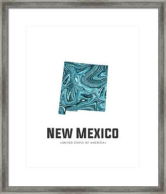 New Mexico Map Art Abstract In Blue Framed Print