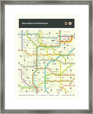 New Mexico Map Framed Print