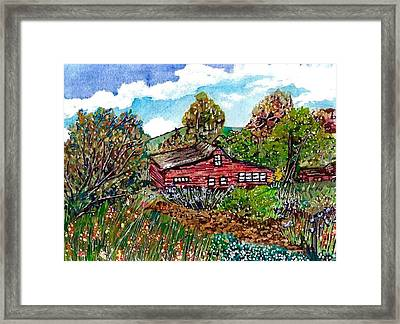 New Mexico Red House  Framed Print by M E Wood