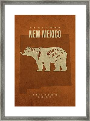 New Mexico State Facts Minimalist Movie Poster Art Framed Print