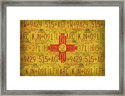 New Mexico State Flag Vintage License Plate Art Framed Print by Design Turnpike