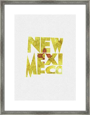 New Mexico Typographic Map Flag Framed Print