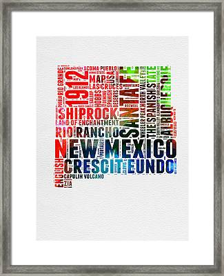 New Mexico Watercolor Word Map Framed Print