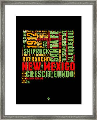 New Mexico Word Cloud Map 1 Framed Print by Naxart Studio