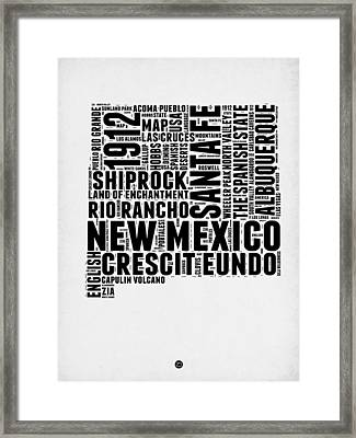 New Mexico Word Cloud Map 2 Framed Print by Naxart Studio