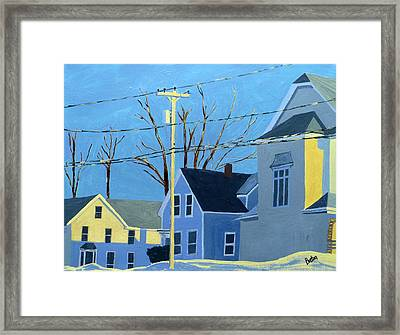 New Mills Winter Framed Print by Laurie Breton