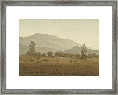 New Moon Above The Riesengebirge Mountains Framed Print by Caspar David Friedrich