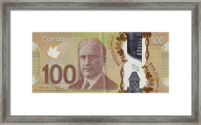 New One Hundred Canadian Dollar Bill Framed Print by Serge Averbukh