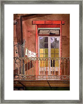 New Orleans - Balcony With Laundry - Galley House Framed Print by Mountain Dreams
