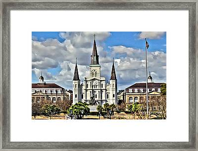 New Orleans Church Framed Print by Carey Chen