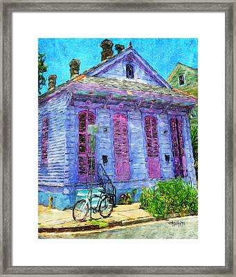 New Orleans Colorful House Bicycle Framed Print by Rebecca Korpita