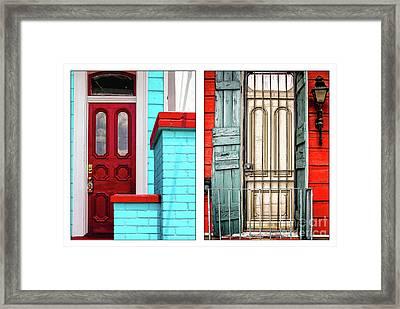 New Orleans Doorways Diptych One Framed Print by Kathleen K Parker