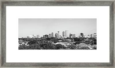 New Orleans Downtown Skyline Panorama - Bw Framed Print