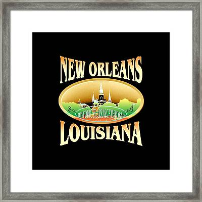 New Orleans Louisiana Tshirt Design Framed Print by Art America Gallery Peter Potter