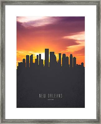 New Orleans Louisiana Sunset Skyline 01 Framed Print by Aged Pixel
