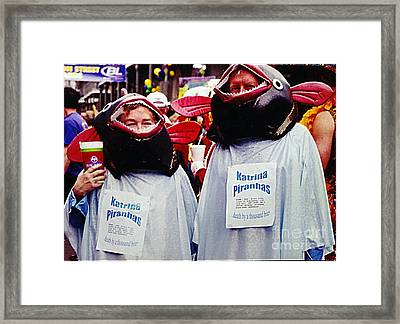 New Orleans Mardi Gras Katrina Piranha Death By A Thousand Bites Framed Print by Michael Hoard