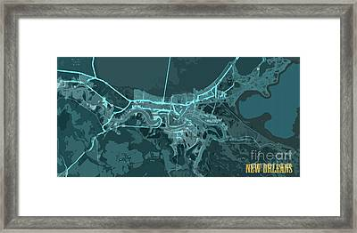 New Orleans Old Map Abstract Blue Framed Print by Pablo Franchi