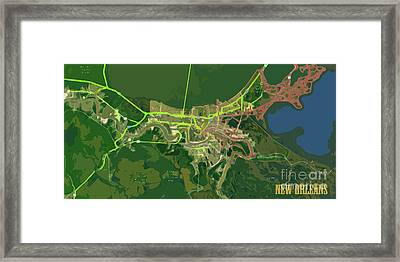 New Orleans Old Map Green Abstract Framed Print by Pablo Franchi