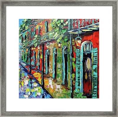 New Orleans Painting - Glowing Lanterns Framed Print by Beata Sasik