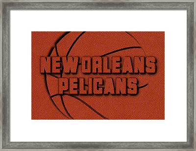 New Orleans Pelicans Leather Art Framed Print by Joe Hamilton