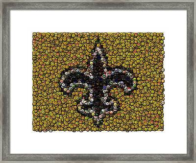 New Orleans Saints  Bottle Cap Mosaic Framed Print by Paul Van Scott