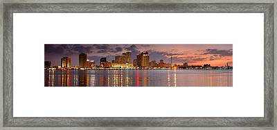 New Orleans Skyline At Dusk Framed Print by Jon Holiday