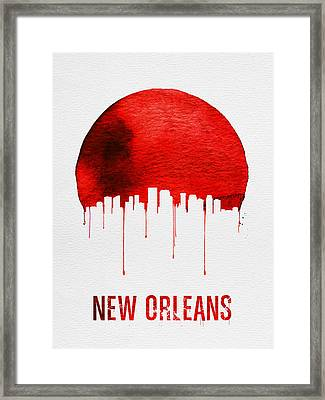 New Orleans Skyline Red Framed Print by Naxart Studio