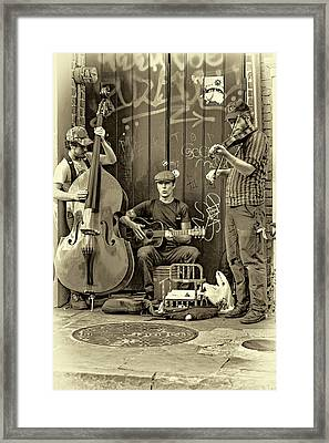 New Orleans Street Musicians - Paint Sepia Framed Print