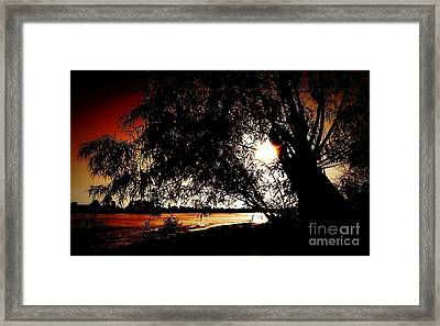 New Orleans Sunset On The Mississippi River Framed Print by Michael Hoard