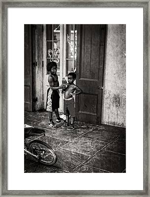 New Orleans Tap Dancers In Black And White Framed Print