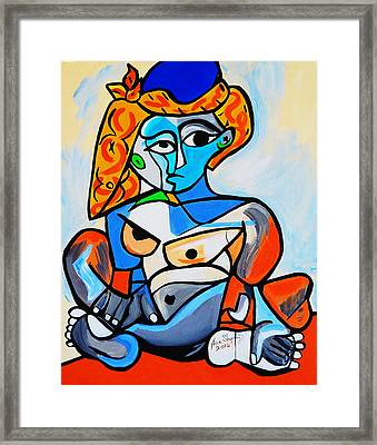 New  Picasso By Nora  Nude Woman With Turkish Bonnet Framed Print