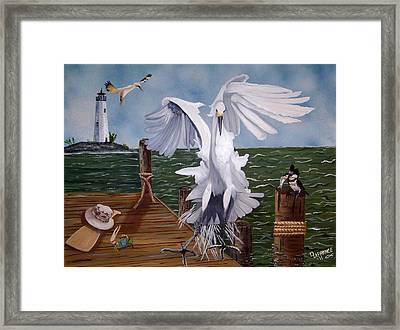 New Point Egret Framed Print by Debbie LaFrance