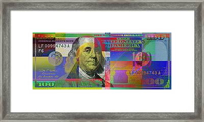 New Pop-colorized One Hundred Us Dollar Bill Framed Print by Serge Averbukh
