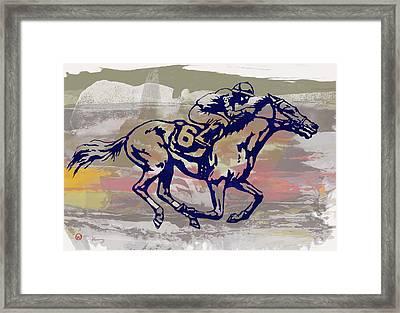 New Racing Horse  -  Pop Art Poser Framed Print