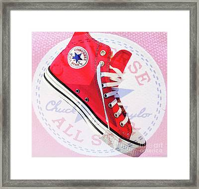 New Red Converse Framed Print