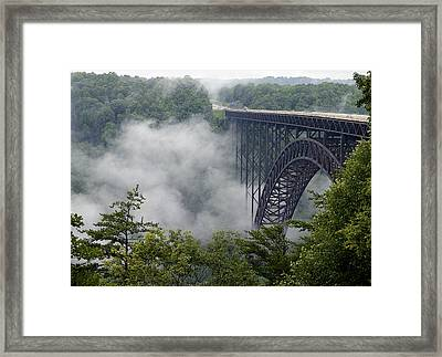 New River Gorge Bridge On A Foggy Day In West Virginia Framed Print by Brendan Reals