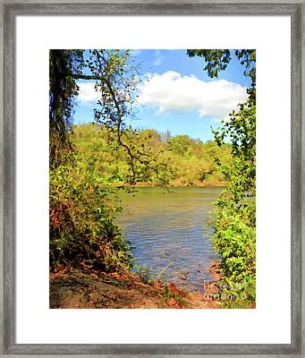 Framed Print featuring the photograph New River Views - Bisset Park - Radford Virginia by Kerri Farley