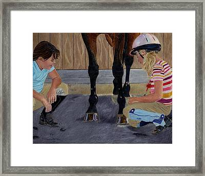 New Shoe Review Horse And Children Painting Framed Print