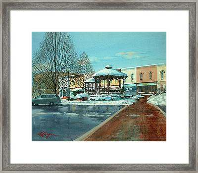 Triangle Park In Winter Framed Print
