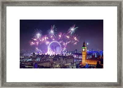 New Year Fireworks London Framed Print