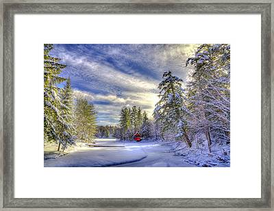 New Year Snow At The Red Boathouse Framed Print