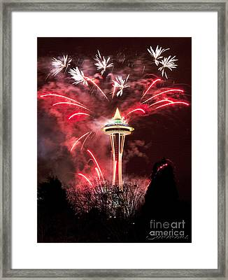 New Years At The Space Needle Framed Print