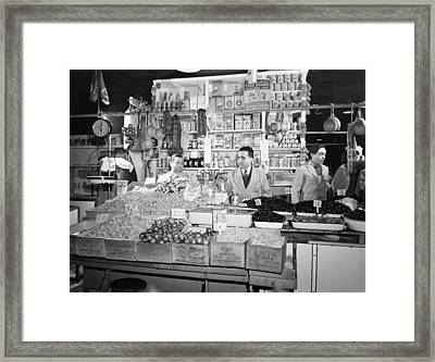 New York - Italian Grocer In The First Framed Print by Everett