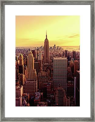 New York - Magic Hour At Top Of Rock Framed Print by Matt Pasant