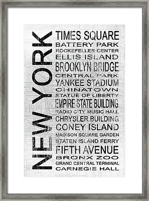 New York 1 White Subway Framed Print