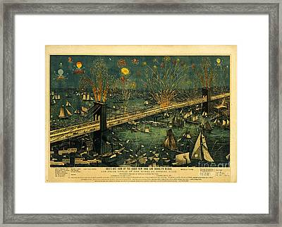 Framed Print featuring the photograph New York And Brooklyn Bridge Opening Night Fireworks by John Stephens